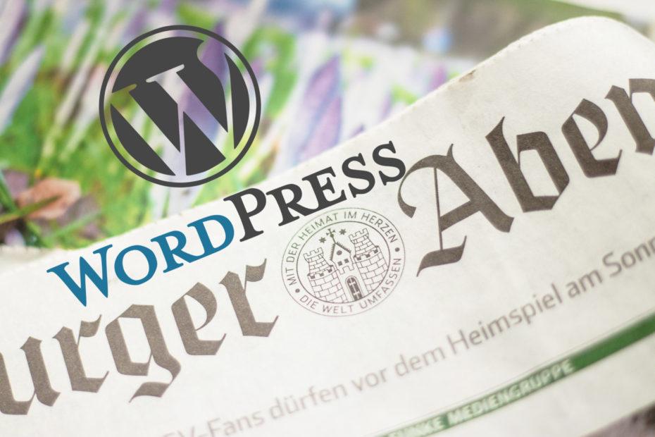 Zeitung (Hamburger Abendblatt) mit WordPress Logo